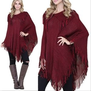 Burgundy Poncho Sweater womens fall comfy cozy